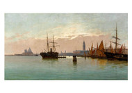 Pietro Galter - At the Entrance to the Grand Canal in Venice on the Left the Punta Della Doana and Santa Maria