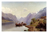 Johan Fredrik Eckersberg - Bridal Escort on the Hardanger Fjord