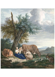 Aert Schouman - Farmers Wife and Farmer with Child in a Landscape with Cattle