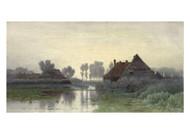Paul Gabriel - Farm Dwellings on the Water in the Morning Mist