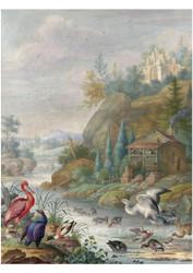 Herman Henstenburgh - Birds Near a Mountain Stream