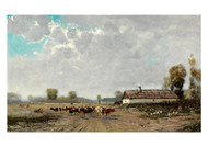 Bela von Spanyi  - A Village Landscape with Cows