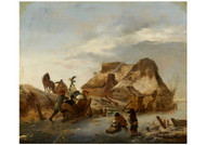 Philips Wouwerman - A Nombleman's Sleigh on the Ice