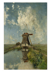 Paul Joseph Constantin Gabriel - A Windmill on a Polder Waterway