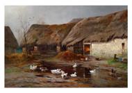 Adolf Kaufmann - Ducks in a Farmyard