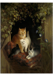 Henriette Ronner - Cat with Kittens