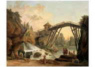 Hubert Robert - Draughtsman Drawing the Wooden Bridge in the Park of Mereville