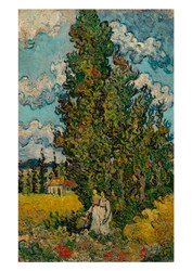 Cypresses and Two Women by Vincent van Gogh