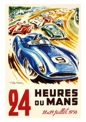 24 Heures du Mans 1956 Vintage Motoring Poster by Geo Ham