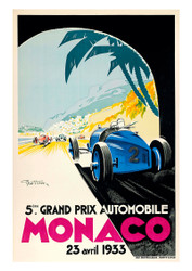 Monaco 1933 Vintage Motoring Poster by Geo Ham