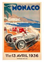 Monaco 1936 Vintage Motoring Poster by Geo Ham