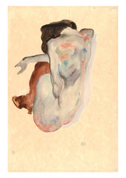 Crouching Nude in Shoes and Black Stockings by Egon Schiele