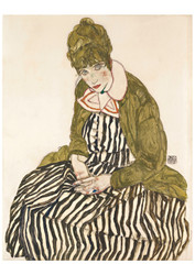 Edith with Striped Dress by Egon Schiele