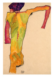 Male Nude, Propping Himself Up by Egon Schiele