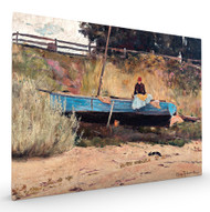 Boat on Beach Queenscliff Stretched Canvas
