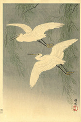 Little Egrets in Flight by Ohara Koson