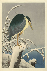Heron in Snow by Ohara Koson