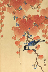 Great Tit on Paulownia Tree by Watanabe Shozaburo