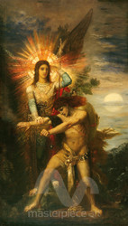 Jacob and the Angel by Gustave Moreau Premium Giclee Print