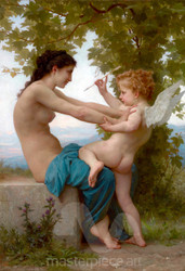 A Young Girl Defending Herself against Eros by William-Adolphe Bouguereau Premium Giclee Print