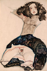 Black-Haired Girl with Lifted Skirt by Egon Schiele Premium Giclee Print