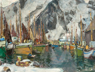 Among the Fishing Boats in Svolvaer by Anna Boberg Giclee
