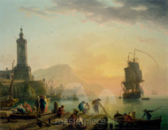 Maritime Art - A Calm at a Mediterranean Port by Claude-Joseph Vernet