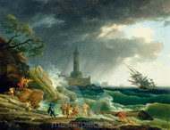 Maritime Art - A Storm on a Mediterranean Coast by Claude-Joseph Vernet