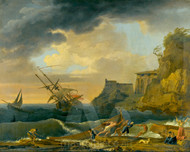 Maritime Art - A Shipwreck off a Mediterranean Coastline by Claude-Joseph Vernet
