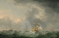 Maritime Art - English Ships Running before a Gale by Charles Brooking
