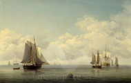 Maritime Art - Fishing Boats in a Calm Sea by Charles Brooking