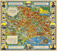 Vintage Map - Pictorial Map Melbourne 1934