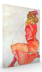Kneeling Female in Orange Red Dress by Egon Schiele Wall Art