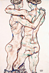 Naked Girls Embracing by Egon Schiele Art Print