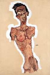 Nude Self Portrait by Egon Schiele Art Print