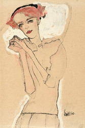 Portrait of a Woman by Egon Schiele Art Print