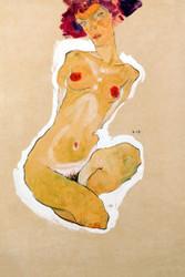 Squatting Female Nude by Egon Schiele Art Print