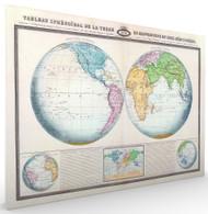 Tableau Spheroidal de la Terre ou Mappemonde en deux Hemispheres Stretched Canvas