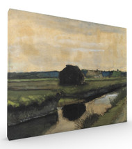 Landscape with a Stack of Peat and Farmhouses by Vincent van Gogh Stretched Canvas