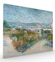 Montmartre behind the Moulin de la Galette by Vincent van Gogh Stretched Canvas