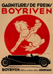 Boyriven Brake Linings Advertising Poster c1930