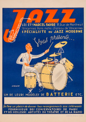 Jazz le sets Marcel Faivre 1940s French Vintage Poster