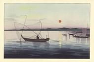 Boats and Sunset by Ohara Koson Seascape