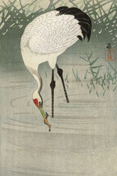 Japanese Print Crane Fishing in Shallow Water by Ohara Koson