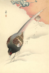 Japanese Print Disconnect Pheasant in the Snow by Ohara Koson