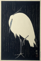 Japanese Print Egret in the Rain by Watanabe Shozaburo