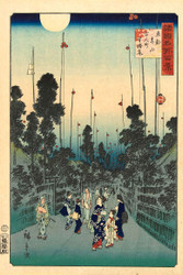 Japanese Print Evening Party in the District Hyakunin Aoyama District in Edo by Ando Hiroshige