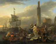 A Harbour Scene by Nicolaes Berchem