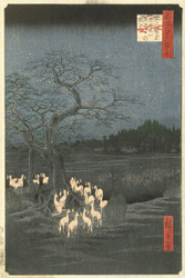 Japanese Print Fox Fires On New Years Eve at the Shozoku Nettle Tree at Oji by Ando Hiroshige