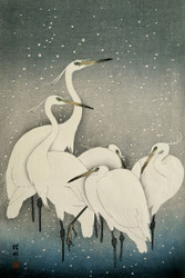 Japanese Print Group of Egrets by Watanabe Shozaburo Art
